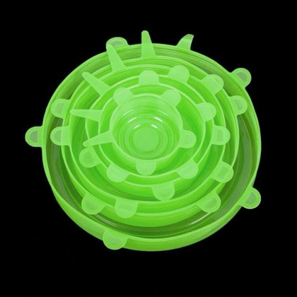 6Pcs/Set Stretchable Silicone Lid Cover Kitchen Food Lid Cover Lids Covers
